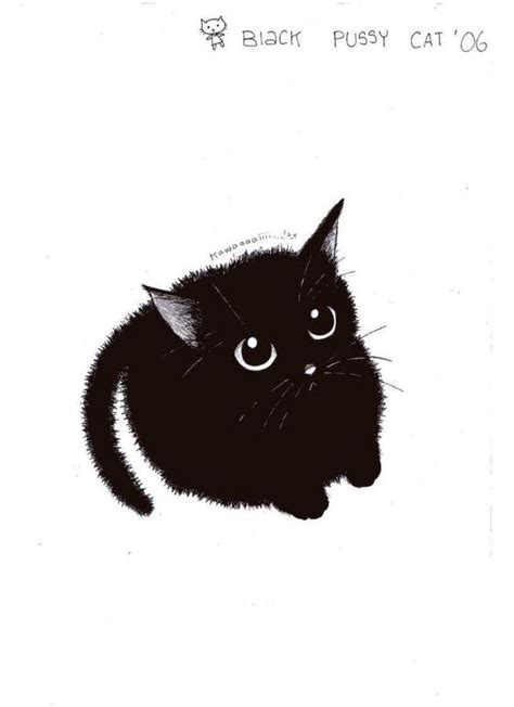 cute black cat  pinkmew cats illustration black cat