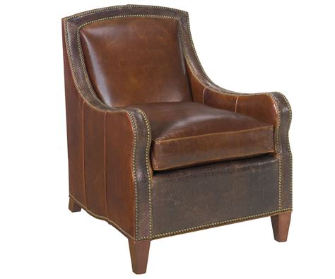 Traditional Leather Nail Head Accent Chair