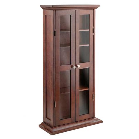Antique Walnut Wooden Cd Dvd Storage Cabinet 5 Adjustable