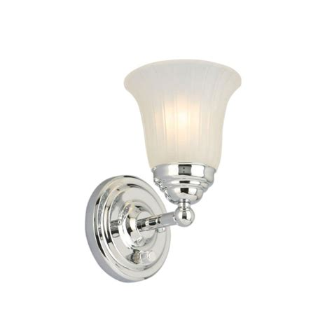 hton bay 1 light chrome sconce with frosted glass shade