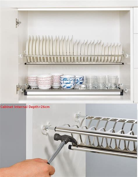 diy  tier stainless steel cabinet dish drying rack plate storage organizer dish drainer cabinet