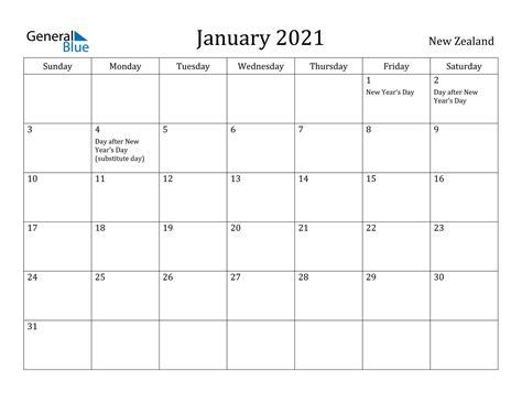 january  calendar  zealand