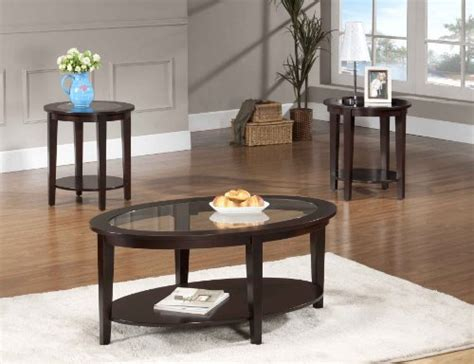 Beverly Furniture Oval Modern Glass 3-piece Coffee Table