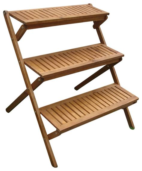 Wooden Patio Plant Stands by Vifah Outdoor Wood 3 Layer Plant Stand Transitional