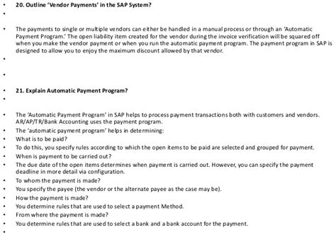 Accounts Payable Questions And Answers For by Sap Accounts Payable Questions And Answers Pdf