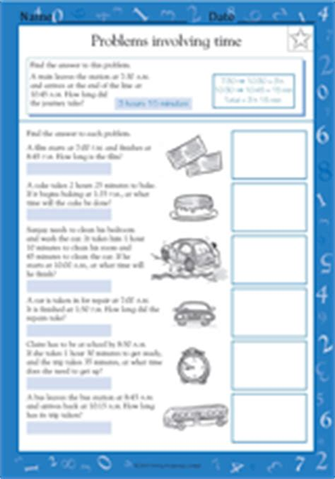 word problems involving time  worksheet grade