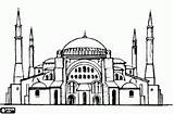 Mosque Silhouette Drawing Minarets Domes Hagia Sophia Drawings Medieval Building Mosques Istanbul Ottoman Turkish sketch template