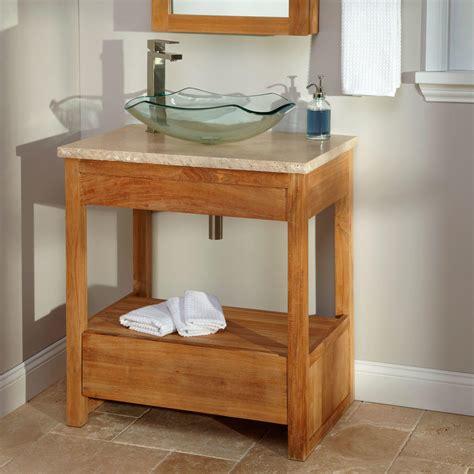 rhea teak vessel sink vanity  teak top bathroom