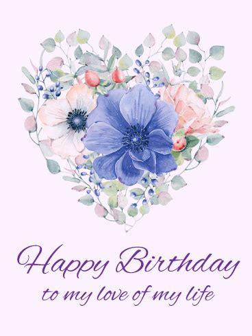 elegant flower heart happy birthday card birthday