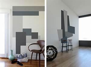 Wand Grau Streichen : wandmuster ideen geometrische formen streichen ~ Frokenaadalensverden.com Haus und Dekorationen