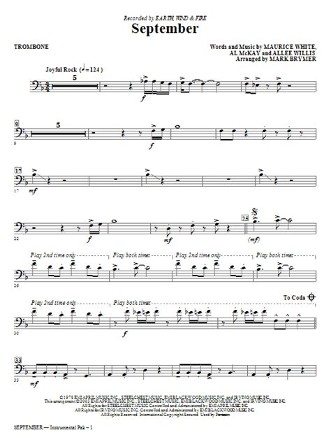 The trombonist can play 7 notes in each of these positions. September - Trombone   Sheet Music Direct
