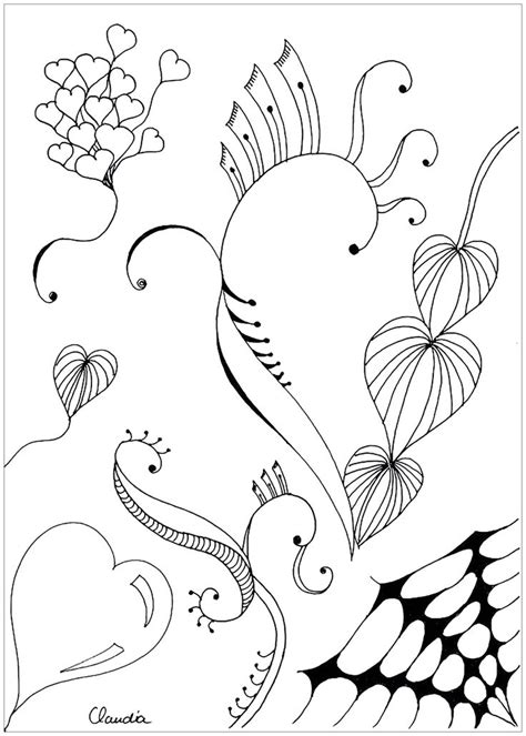 coloring page coloring adult zentangle simple  claudia  simple zentangle drawing