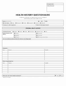 patient health history questionnaire form templates With health questionnaire form template