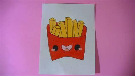 como dibujar pintar papas fritas kawaii semana comida kawaii