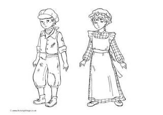 How To Draw A Victorian Boy by Historical Children Colouring Pages