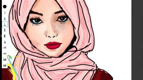 digital drawing hijab girl youtube