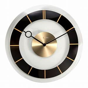 Buy retro glass wall clock black online purely wall clocks for Black glass wall clock