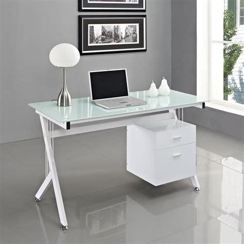 computer desk pc table home office black white glass