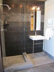 Douche en ceramique avec insertion de mosaique horizontale for Salle de bain design avec vache décorative céramique