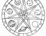 Coloring Pages Pentagram Wiccan Pagan Drawing Printable Faerie Pentacle Mandala Water Planets Getcolorings Adults Digital Altar Template Children sketch template