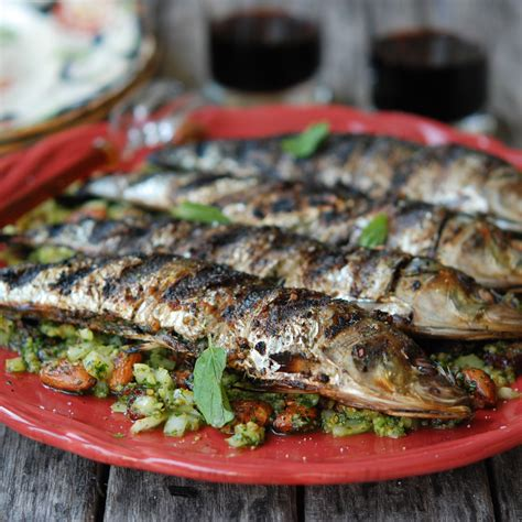 grilled sardines with mint and almonds recipe andrew