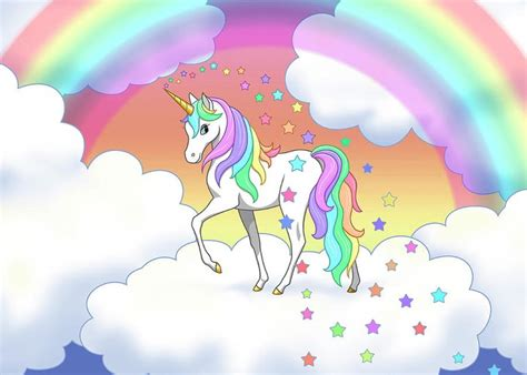 Rainbow Unicorn Clouds And Stars Greeting Card For Sale By