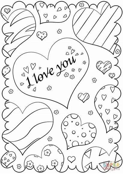 Coloring Pages Card Valentine Valentines Printable Drawing
