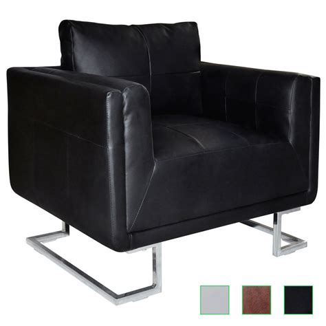 cube club chair accent armchair real leather chrome frame