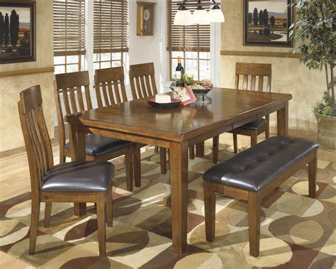 7 dining set with bench signature design by ralene casual 7 dining