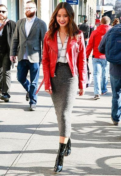 Stunning red leather jacket with outfits style ideas (20) - Fashions Fobia For Fashion Lovers
