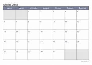 Calendario agosto 2018 para imprimir iCalendario net