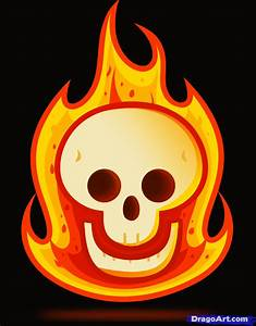 Learn How To Draw A Flaming Skull For Kids Skulls Pop