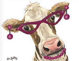 Funny Cow with glasses cow art print from original cow