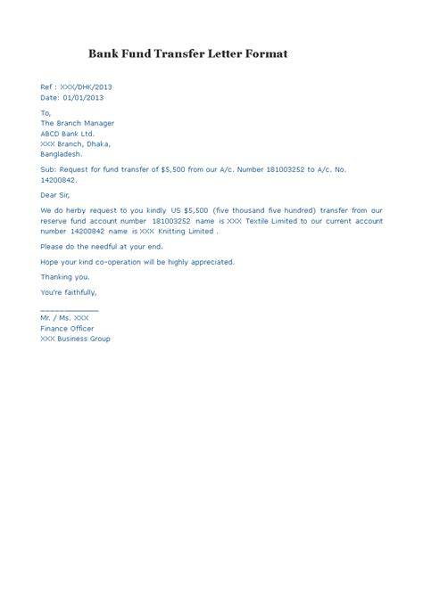 bank fund transfer letter format templates