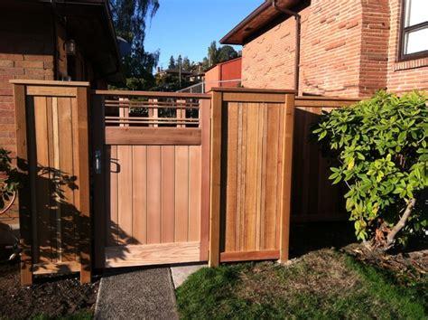 decorative entry gate craftsman landscape seattle