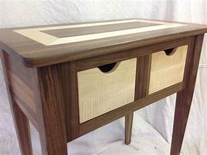 Custom Made Black Walnut And Tiger Maple End Table by