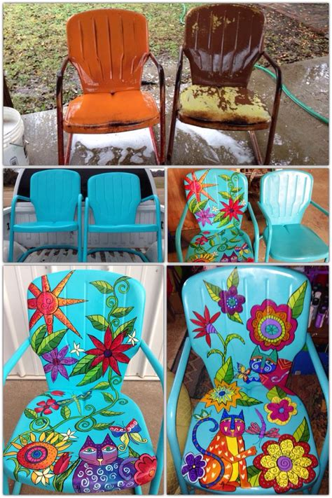 25 best ideas about painting metal chairs on