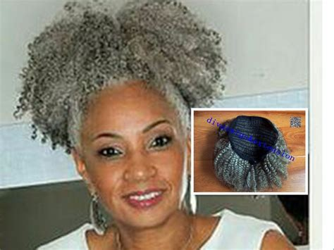 real hair gray puff afro ponytail hair extension clip