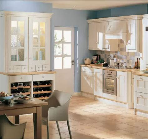 Blue Kitchen Walls With Brown Cabinets by Kitchen Simple Brown Ceramic Floor Tile Paired With White