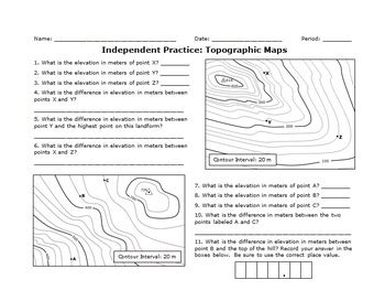 topographic maps practice sheets set by haney science tpt