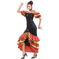 Senorita Spain Dancing Costume Flamenco Dancer Fancy Dress Outfit