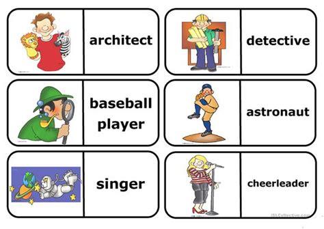 occupations domino worksheet  esl printable