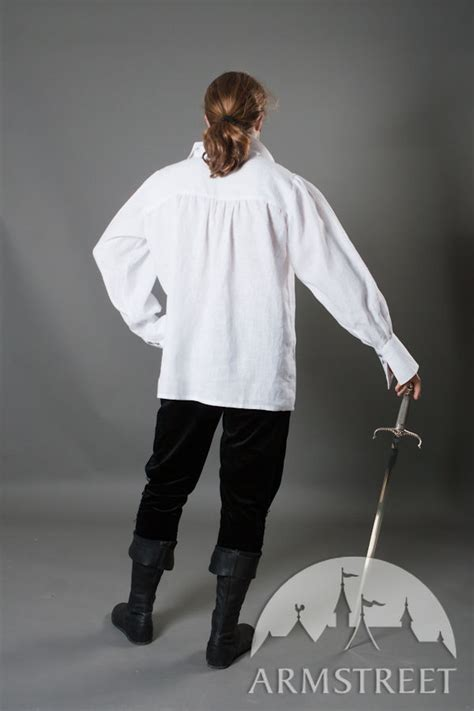 renaissance noble medieval white flax shirt  sale