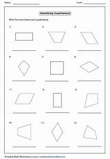 Quadrilateral Parallelogram Identify Each Worksheets Rhombus Trapezoid Rectangle Square Coloring Mathworksheets4kids Template Kite Pages sketch template