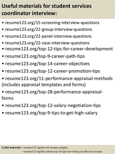 top 8 student services coordinator resume sles