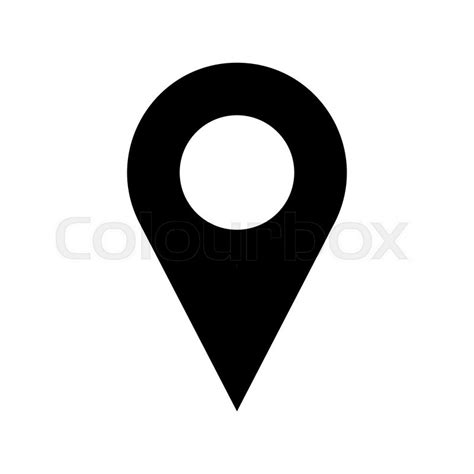 Black and white vector pinpoint icon isolated on white