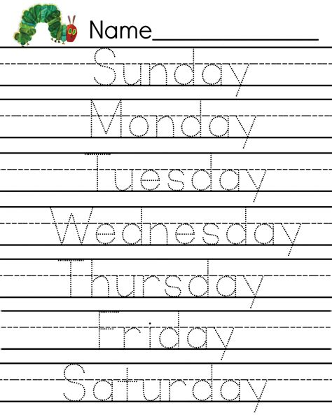 writing worksheets days of the week hungry caterpillar writing pages work sheets