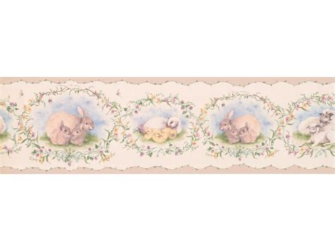 peach mothers  babies animals wallpaper border