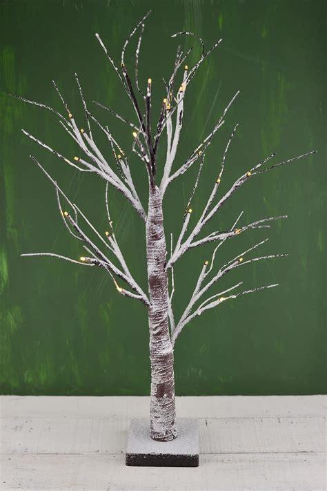 led birch tree   warm white lights battery op timer