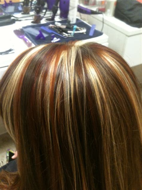 Tri Colored Highlights Red Copper And Blonde Highlights